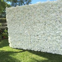 Wholesale White Wall Background - 10pcs lot Artificial Milk White silk rose and peony flower wall wedding background decoration road lead Home Decor Free Shipping
