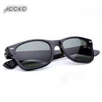 plaj camı toptan satış-AOOKO en iyi UV400 koruma Tahta siyah Güneş gözlükleri cam Lens G15 Yeşil Güneş gözlükleri plaj sunglass Cam Polarize güneş gözlüğü 52 / 55mm