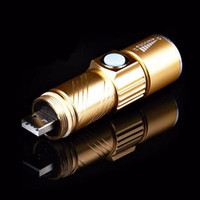 Wholesale Gold Torch Led Flashlight - USB Handy LED Torch usb Flash Light Pocket LED Rechargeable Flashlight Zoomable Lamp For Hunting Black Gold