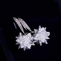 Wholesale Korean Handmade Earrings - 2016 New Creative Handmade 3D Zircon Snow Ball Ice Flower Pendant Earrings Dangle Korean Style Wholesale