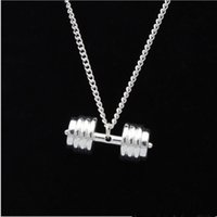 Wholesale Silver Chain Weights - Europe and the United States titanium steel couples necklaces for fitness Pendants wholesale men dumbbell weights