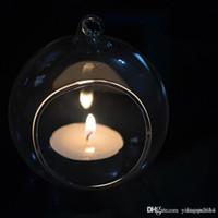 ingrosso piante di terrario-8CM trasparente appeso vaso di vetro fiore Vaso di candela Tealight Holder Candelabro di nozze Hanging Air Plant Terrarium per la decorazione domestica