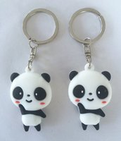 Wholesale Panda Ornament - PVC Keychains 3D Panda Keyring Promotional Key-Tag Gifts 100pcs lot Very cute little ornaments Free shipping