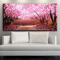 Wholesale Cherry Blossom Canvas Painting - ZZ1545 modern decorative canvas art beautiful Cherry blossoms flower canvas pictures oil art painting for livingroom bedroom art