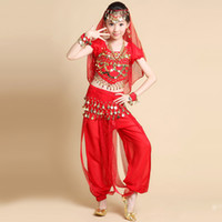 Wholesale Yellow Dance Top - Kids Belly Dance Costumes Short Sleeve Belly Dancing 5 Pcs Top&Balloon Pants&Waist Chain&Headwear&Hand act Indian Dance Costumes