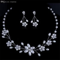 Wholesale Twinset Jewelry - Wholesale-Free Shipping Pearl Flower Shaped Banquet Twinset Necklace Earrings Luxury High-Grade By Hand Crystal Bridal Wedding Accessories