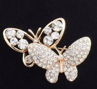 Wholesale Bridal Butterfly Brooch - Free shipping white crystal brooch pin Kawaii butterfly brooches pins bridal wedding brooches pins for women double flying butterflies pins