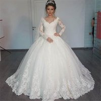 Wholesale China Long Skirts - 2018 Cheap Wedding Dresses China Free Shipping Vestido Noiva Renda V-Neck Elegant Special Long Sleeve Wedding Dress Ball Gowns