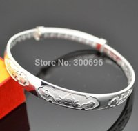 Wholesale Happiness Bangle - Wholesale- H:HYDE Modern design sweet Women Female Jewelry shiny noble silver Color lucky Bangles Bracelets for gifts with happiness