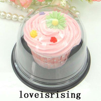 Wholesale Cupcakes Party Favors - 50pcs=25sets Clear Plastic Cupcake Cake Dome Favor Boxes Container Wedding Party Decor Gift Boxes Cake Box Wedding Favors Boxes Supplies