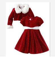 Wholesale Girls Waist Coats - Children Christmas outfits girl fur collar woolen coat+polka-dots collect waist short sleeve dress 2pcs sets Winter Autumn kid clothes C1336