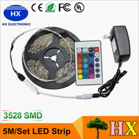 Wholesale Led Ir Remote 3528 - LED Strips 5M Set 3528SMD 60led LED Strip Light Waterproof 24Keys IR Remote Controller Power supply Adapter White Red RGB LED strips light