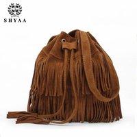 Wholesale Ladies Fringed Handbags - SHYAA-New Women bag European simple bucket bag retro fringed handbag ladies Tassels Shoulder bag women Messenger Bag female fashion