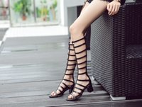 2017 Ladies Chaussures Botas de salto alto Hollow Out Pump Mulheres Open Toe Peep Shoes Gladiator Knee High Roman Sandals