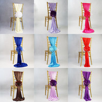 Wholesale Satin Cover Chair Banquet - New Arrival Jacquard Chair Covers For Wedding Ceremony Ribbon Chair Sashes Party Banquet Decoration Satin Sash Wedding Supplies 50 Pcs Lot