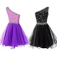 Wholesale Sparkly One Shoulder Homecoming Dresses - 2016 New Sparkly Dresses Beaded Homecoming Black Purple One Shoulder Crystals Sequins Top Sheer Back Tulle Skirt Custom Made Top Quality