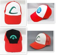 Wholesale Wholesale Adult Sneakers - DHL Unisex Poke Ash Ketchum Trainer Hat Cap Adult Ball Snapback Caps Adult Costume Cartoon Trucker Baseball Hockey Sneaker Men Hat New Hot