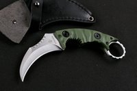 Wholesale Strider Fixed - Promotion Top Quality New Claw Karambit knife G10 Handle Fixed blade knife Outdoor gear hunting knife camping knives Leather Sheath