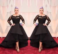 robes de soirée en taffetas noir achat en gros de-Robes de soirée noires Oscar Salut-Lo dentelle manches longues robe de bal Excellent défilé de mode en taffetas, Plus la taille formelle robe de soirée
