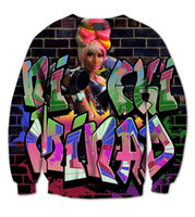 Wholesale Fleece Made Usa - Wholesale-3 Colors Real USA size Nicki Minaj 3D Sublimation print fleece Sweatshirt Crewneck Plus Size Custom made clothing
