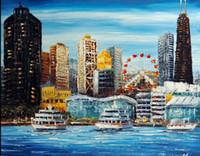 chicago art achat en gros de-Chicago Downtown Navy Pier Amusement Shopping Lac Michigan, Artisanat Paysage Bâtiment Art Peinture à l'huile sur toile, en formats personnalisés