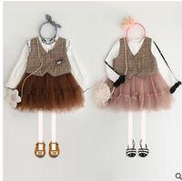 Wholesale Double Breasted Tulle - Girls vest dress fashion Kids plaid double-breasted waistcoat dress child mesh gauze tulle TUTU dress 2017 New sweet Girls clothing G0941
