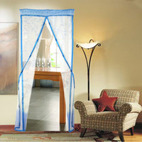 Wholesale Magnetic Mosquito Curtain Door - 4 Color Curtain Anti Mosquito Magnetic Tulle Shower Curtain Automatic Closing Door Screen Summer Style Mesh Net 90  100 x 210 CM