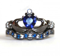 Wholesale Claddagh Bands - Vecalon Claddagh Women Engagement Wedding Band Ring Set Blue sapphire Simulated diamond Cz 10KT Black Gold Filled Party ring