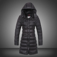 Wholesale Puffy Clothing - New Long Coat For Women Puffy Duck Duvet Hooded Collar Winter Parka Ruched Button Slim Lady Parka Womens Clothing