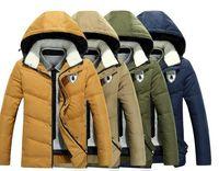 Wholesale Yellow Color Wool Winter Coat - 3XL Men Down Coats Sheep Wool Collar Thick Winter Goose Parkas For Men Sheep Wool Hooded Men Down Overcoat Jacket J161050