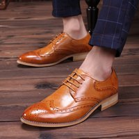 Wholesale High Quality Stylish Wedding Dress - 2016 Noble Stylish Genuine Leather Vintage Carved Brogues Shoes Mens Casual Oxfords Shoes Hand Made Lace Up British Style High Quality