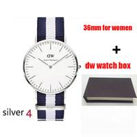 Wholesale Women Watches Colour - 2017 top luxury brand dw Daniel women men Wellington watches fashion dw nylon style 10 colours 36mm silver laydies dw watches montre femme