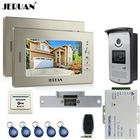 JERUAN two 7`` monitores LCD Screen Video Intercom Video Door Phone Handsfree + sistema de controle de acesso + 700TVL Camera + Cathode lock