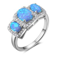 Wholesale Oval Vintage Ring - 5pcs Fashion Blue Fire Oval Opal Rings 925 Sterling Silver Rings Vintage Engagement Rings for Women