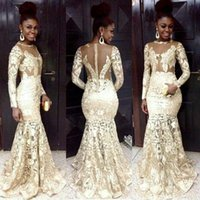 Wholesale Sexy Evening Dresses For Women - 2016 South African Style Evening Dresses Lace Sheer Neck Long Sleeve Champagne Mermaid Prom Dresses For Woman Plus Size Formal Party Dresses