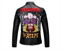 Wholesale Character Coats - Free shipping 2017 autumn new men motorcycle PU leather collar fashion Slim men leather jacket coat embroidery