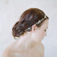 Wholesale Bride Crystal Jewlery - Luxury Crystal Wedding Headband Tiaras For Bride Hair Accessories Wedding Hair Head Piece Bridal Jewlery Satin Bridal Hair Accessories