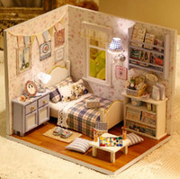 Wholesale Diy House Model - Wholesale Diy Wooden1:12 Miniature Doll House Furniture Toy Miniatura Puzzle Model Handmade Dollhouse Creative Birthday Gift-Sunshine full