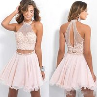 Wholesale Strapless Short Green Beach Dresses - Blush Pink High Neck Two piece homecoming dresses with pearls short cocktail bling party gowns backless chiffon beach graduation 2016 new