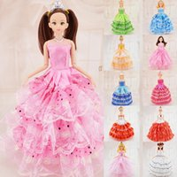 Wholesale Western Dresses For Baby Girls - Baby gilrs toys Princess Dream Wedding dress for Barbie