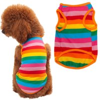 Wholesale Rainbow Dog Clothes - New Fashion Rainbow Stripe Dog Clothes Pet Shirt Dog Costume Summer Mascotas Cachorro Perros Ropa Para Perros Dog Clothes Summer