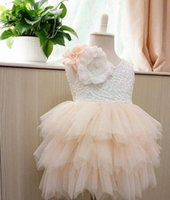 Wholesale Tiered Ruffle Sundress - New Lace Girls Dresses Sweet Flower beaded lace vest tulle Kids tutu dress Summer Floral Lace Gauze Tiered Children Sundress 6614