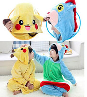 Wholesale Kigurumi Unisex Pyjamas Cosplay Costumes - Kids Pikachu Pajamas Animal Kigurumi Pyjamas Cosplay Christmas Costume Cartoon Poke Jumpsuits Baby Flannel Sleepwears Winter Onesies 10pcs