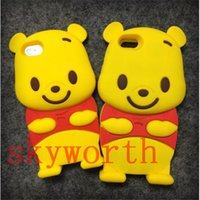 Wholesale Cute 3d Galaxy S3 Cases - 3D Cute Cartoon Winnie the Pooh Silicon Case For iphone 4S 5 5S 6 6S plus Samsung galaxy S3 S4 S5 Note 3