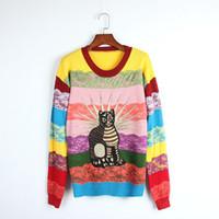 camisolas de renda venda por atacado-Top Rainbow Pullovers Listrados Mulheres 2017 Outono Mangas Compridas Gatos Bordados Lace Camisolas das Mulheres Puxar Femme DH060