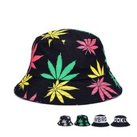 Wholesale Maple Patterns - Spring Summer Men Women Beach Wide Brim Sun Hats Maple Leaf Letters Pattern Unisex Bucket Hats Outdoor Tourism Fisherman Hat GH-44