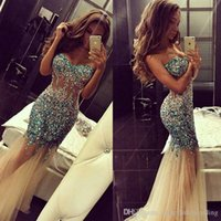 Wholesale Evening Crystal Rhinestones Dress - Sparkly Mermaid Prom Dresses Artificial Rhinestone Crystals Sweetheart Champagne Tulle Beaded Long Sweet Evening Pageant Gowns Sheer 2016