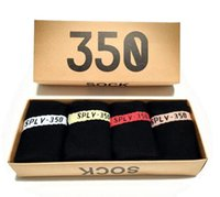 Wholesale Fiber Sports - Boost 350 V2 Socks Kanye West SPLY 350 Sports Sock Short Athletic Socks One Box 4 Colors Men Women Soft Black Cotton Sock with Box