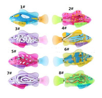 Wholesale Fish Gifts - LED lighted Robo Fish Water Activated Battery Powered Robofish Bath Toys Children Pet Christmas party gift