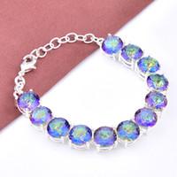 Wholesale Sterling Silver Bangles Valentine - 3PCS   LOT Valentine Day Gift Mystic Crystal Gemstone 925 Sterling Silver Plated Bracelet Bangle Russia Bracelet Jewelry